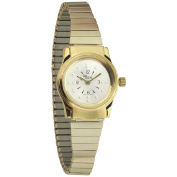Ladies Gold Tone Quartz Braille Watch with Gold Expansion Band