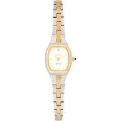 Elgin Women's Two-Tone Silver White Dial Crystal Accented Block Link Bracelet Watch