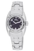 Chronotech Women's CT.7704BS/11M Crystals Black Dial Steel Date Wristwatch