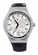 Swatch YIS408 Sistem Puzzle White Date Grey Leather Band Watch