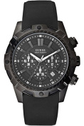 GUESS W0038G1,Men's Chronograph,Black Silicone/Rubber Strap,100m WR,Screw Crown
