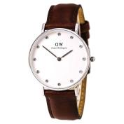 Daniel Wellington 0960DW Women's Classy St Andrews White Dial Brown Leather Strap Watch