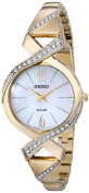 Seiko Womens Solar Stainless Steel Case and Bracelet Pearl Dial Gold Watch - SUP266