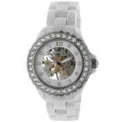 Womens Ceramic Mechanical Skeleton Watch Hand Wind Up White Dial Crystal Bezel
