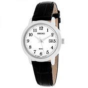 seiko quartz white dial black leather band ladies watch sur823