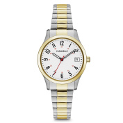 Caravelle 45M111 Women's White Dial Two Tone Steel Expansion Bracelet Watch