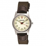 Wenger 01.0411.124 Women's Field Classic Cream Dial Brown Leather and Olive Nylon Strap Watch