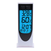 Demiawaking LED Hygrometer Thermometer Alarm Clock Digital Clock Desk Bedside Battery Powered Temperature and Humidity Metre