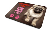 'Justine's Desk, Keep Your Paws Off!', Personalised Name, Good Quality Mouse Mat, Humorous Pug Puppy, Dog Breed Design, Size 230mm x 180mm x 5mm.