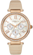Caravelle New York Womens Stainless Steel Case Cream Leather Strap Pearl Dial Rose Gold Watch - 44N105