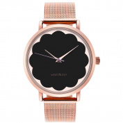 WRISTOLOGY Olivia scallop Rose gold womens watch with 18mm rose gold metal mesh interchanageable watch band OC043