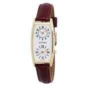 Gotham Women's Gold-Tone Dual Time Zone Leather Strap Quartz Watch