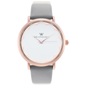 WRISTOLOGY Olivia scallop Rose gold womens watch with 18mm grey genuine leather interchanageable watch band OC035