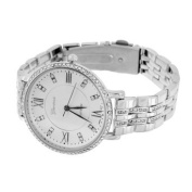 Womens Simulated Diamond Watch Roman Hours White Gold Tone Stainless Steel Case