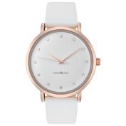 WRISTOLOGY Olivia crystal rose gold womens watch with 18mm white genuine leather interchanageable watch band OC008