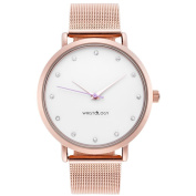 WRISTOLOGY Olivia crystal Rose gold womens watch with 18mm rose gold metal mesh interchanageable watch band OC026