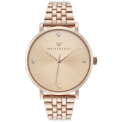 WRISTOLOGY Olivia crystal Rose gold womens watch with 18mm rose gold metal link interchanageable watch band OC048