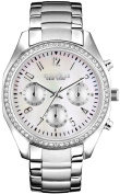 Caravelle New York Womens Chronograph Stainless Steel Case and Bracelet Pearl Dial White Watch - 43L159