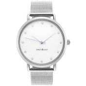 WRISTOLOGY Olivia crystal Silver womens watch with 18mm silver metal mesh interchanageable watch band OC027