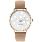 WRISTOLOGY Olivia polka dot Gold womens watch with 18mm sand beige genuine leather interchanageable watch band OC023