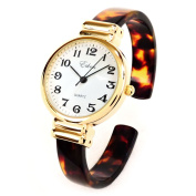 Tortoise Gold Acrylic Band Slim Case Women's Bangle Cuff Watch