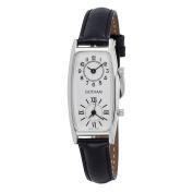 Gotham Women's Silver-Tone Dual Time Zone Leather Strap Quartz Watch