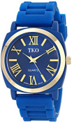 TKO Women's Round Metal Gold Bezel Royal Blue Soft Rubber Band Roman Numeral Watch TK641BL