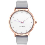 WRISTOLOGY Olivia crystal Rose gold womens watch with 18mm patent grey genuine leather interchanageable watch band OC012