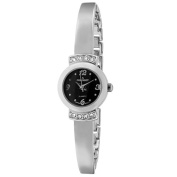Peugeot Womes's Silver Half Bangle Bracelet Ladies Black Face Watch For Small Wrists 7092SBK