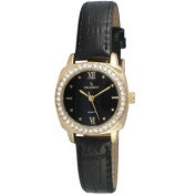 Peugeot Women Round Gold Dress Watch with Crystal Bezel and Black Leather Strap