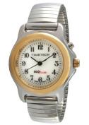 Timetech Glow in the Dark Silver Stretch Expansion Bracelet Gold Bezel Watch 2656L