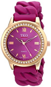 TKO Women's Round Rose Gold Metal Crystal Bezel Purple Stretch Expansion Rubber Chain Link Roman Numeral Watch TK640RPR