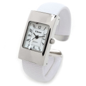 White Silver Snake Style Band Rectangle Case Women's Bangle Cuff Watch