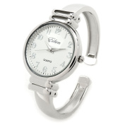 Silver SL Metal Band Slim Case Women's Bangle Cuff Watch