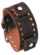 Nemesis BN-WT 22mm Lug Width Brown Wood Panel Pattern Wide Leather Watch Band