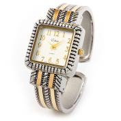 2Tone Western Style Decorated Square Face Women's Bangle Cuff Watch