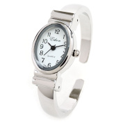 Silver Small Size Oval Face Metal Band Women's Bangle Cuff Watch