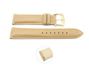 Quick Release 18mm Beige Leather Smooth Watch Band - Interchangeable Womens Watch Straps
