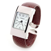 Brown Silver Snake Style Band Rectangle Case Women's Bangle Cuff Watch