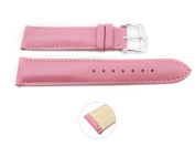 Quick Release 20mm Pink Leather Smooth Watch Band - Interchangeable Womens Watch Straps