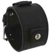Rev #RIV-KL Riverside Buffalo Italian Design 24mm Lug Width Wide Black Leather Cuff Watch Band