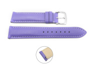 Quick Release 22mm Purple Leather Smooth Watch Band - Interchangeable Womens Watch Straps