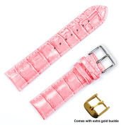 deBeer brand Crocodile Grain Watch Band (Silver & Gold Buckle) - Pink 14mm