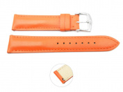 Quick Release 18mm Orange Leather Smooth Watch Band - Interchangeable Womens Watch Straps