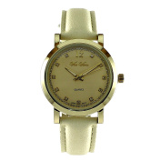 Women's Beige Leather Band Watch with Rhinestone Dial