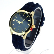 SA106 Womens Pyramid Stud Silicone Buckle Band Round Minimal Index Analogue Wrist Watch Navy Gold