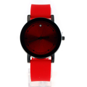 SA106 Womens Minimal Clean Modern Silicone Buckle Band Round Index Analong Quartz Watch Red Black