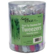Satin Edge Slant Tip Tweezers - 48 ct