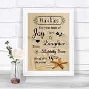 Sandy Beach Hankies And Tissues Personalised Wedding Sign