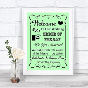 Green Welcome Order Of The Day Personalised Wedding Sign
